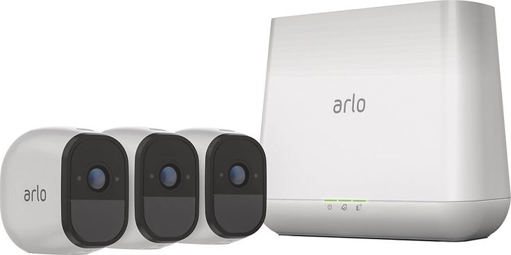 Arlo - 3-Camera Outdoor Wireless Surveillance System - White