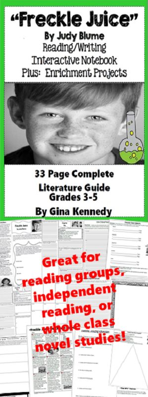 """No-Prep """"Freckle Juice"""" standards based interactive notebook literature guide with follow-up """"Freckle Juice"""" reading response questions for every chapter. As well as thought provoking questions for every chapter you will find vocabulary, activities and enrichment projects! Teacher friendly engaging novel study to use with this award winning novel by Judy Blume in your classroom while encouraging critical reading skills.$"""