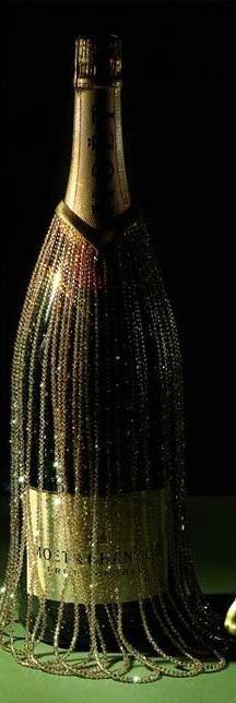 Billionaire Club / karen cox. The Glamorous Life. Swarovsky Champagne Bottle Decoration, made by the Swarovski Crystallized design team for Moet Chandon