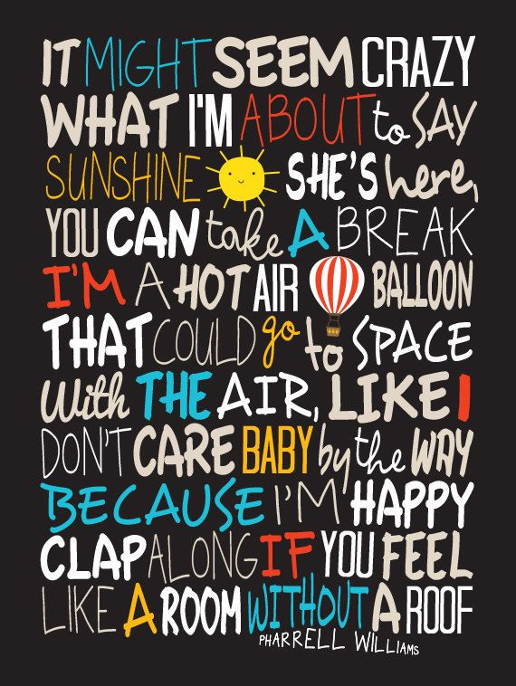 Pharrell Williams  Happy / Song Lyric Typography by CreativePrint