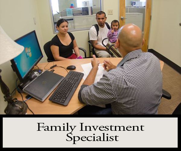 Family Investment Specialists help individuals and families in need by working with them to determine eligibility for financial assistance programs including: Supplemental Nutrition Program (Food Stamps), Energy Assistance, and other programs designed to provide cash assistance to help Maryland's citizens in need.QUALIFICATIONS: Bachelor's Degree. Individuals who do not possess a bachelor's degree may qualify if they can demonstrate that they have public contact experience.
