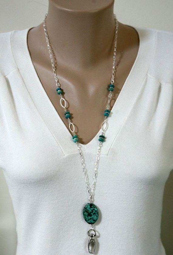 Turquoise and Silver ID Lanyard Necklace
