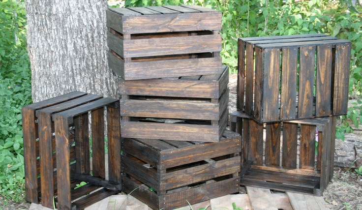 reclaimed wood crates for storage