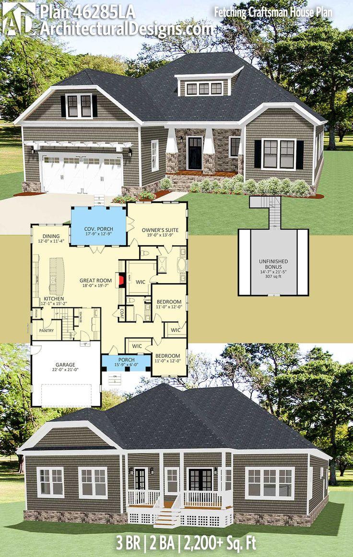 Plan 46285LA Fetching Craftsman House Plan 568