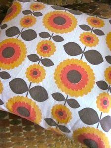 Image of  1970s Orange Scandi Flowers Vintage Fabric, Cushion Pad