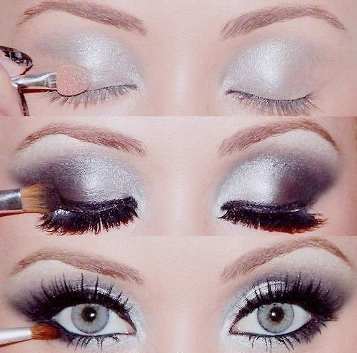 Silver eye shadow look.