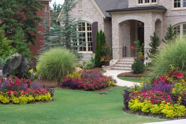 40 front yard landscaping ideas for a good impression for Flower designs for yards