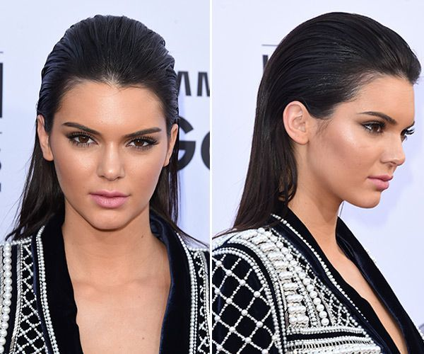 We've seen the wet hair look on Kim Kardashian, Lea Michele, and recently on Kendall Jenner at the Billboard Awards. The slicked back style is easy to rock in real life — get expert tip…