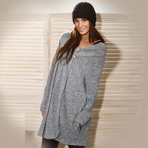 Grey coat / Oversize coat / Asymetrical coat by MIAhandmadeshop