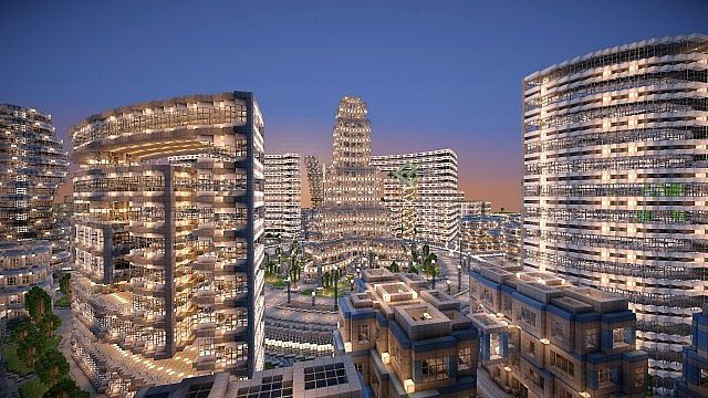 futuristic city building | minecraft-map-ville-moderne-futuristic-city-building