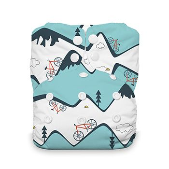 Thirsties One Size All-in-One via Bottoms On in prints: Adventure Trail, Aspen Grove, Mountain Bike, Fin, Midnight Blue, Winter Woods, Woodlands & Mountain Range