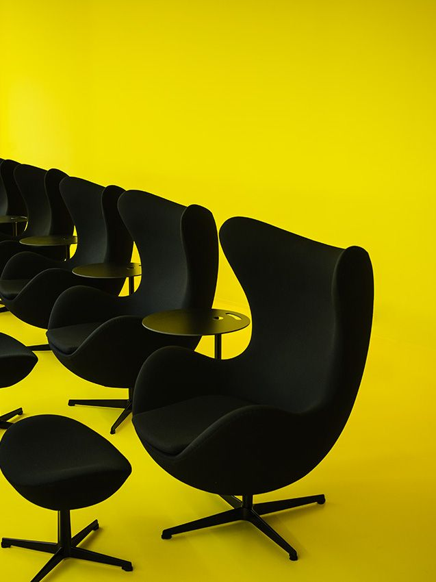 Fritz Hansen launches its flagship store in Milan #yellow #jacobsen #eggchair