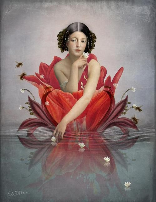 ⊰ Posing with Posies ⊱ paintings of women and flowers - Floating Flower. New digital artwork by Catrin Welz-Stein.