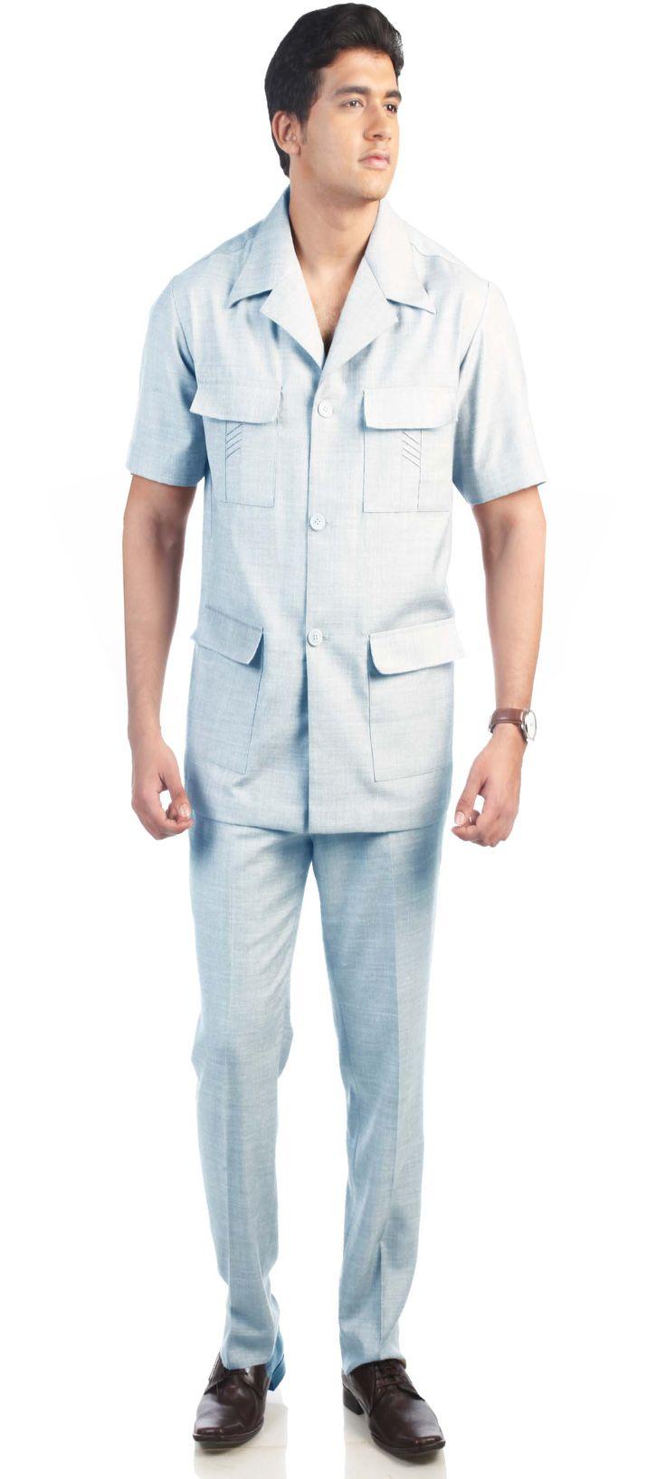 Sahara Sky Blue Safari Suit | Mens Safari Suit Online