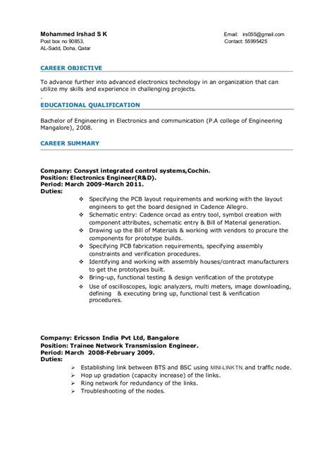 resume sample for engineering fresh graduate check more at