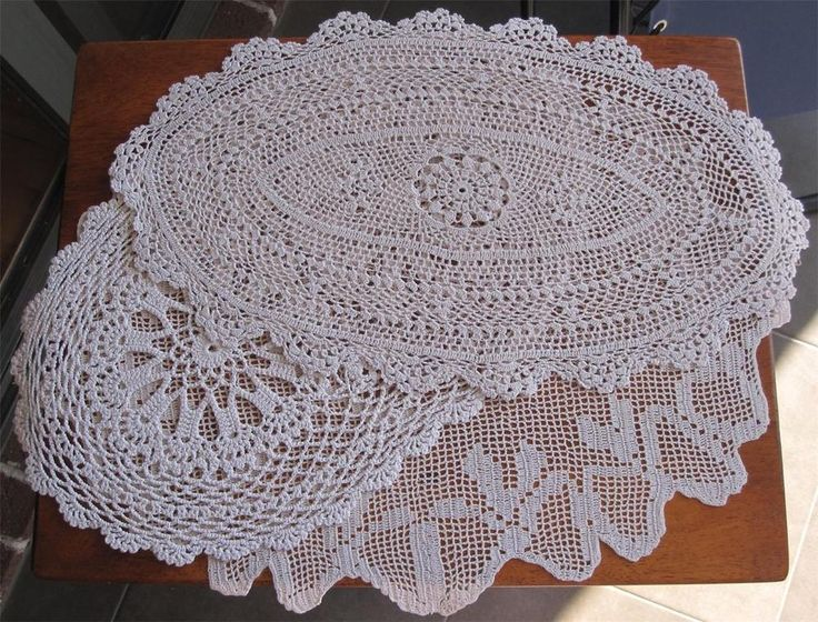Three Vintage Hand Crochet DOILIES  42cms x 27cms 47cms x 36cms 46cms x 27cms Shades of  Taupe with variety in design. In very good vintage condition. *Washed *Starched *Ironed  so comes to you ready to use.