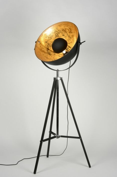 vloerlamp 88248: modern, klassiek, design, retro, metaal, zwart, mat, rond ...