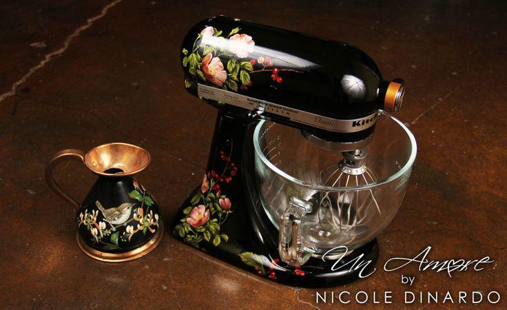 Custom painted floral kitchenaid on black berries