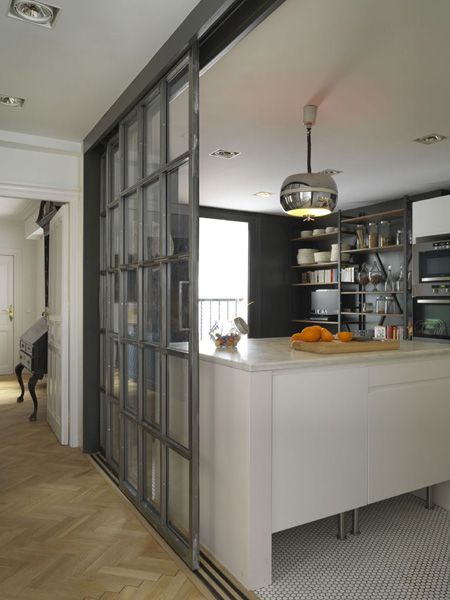 Cool sliding door to kitchen