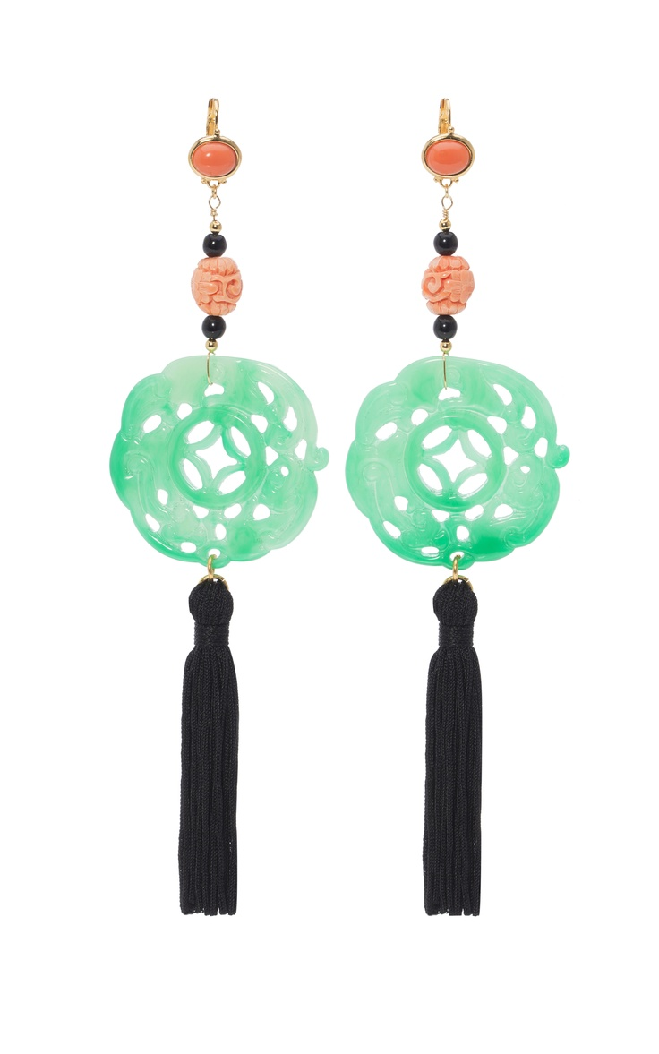 Kenneth Jay Lane Carved Jade Tassel Earrings at Moda Operandi