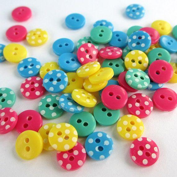 60 Mini Spotty Buttons - bright mix polka dot