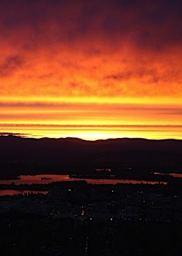 Sunset over Canberra, Australia.
