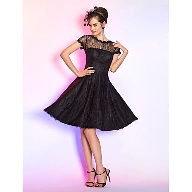 Cocktail+Party+/+Homecoming+/+Prom+Dress+-+Black+Plus+Sizes+/+Petite+A-line+Jewel+Knee-length+Lace+–+USD+$+55.99