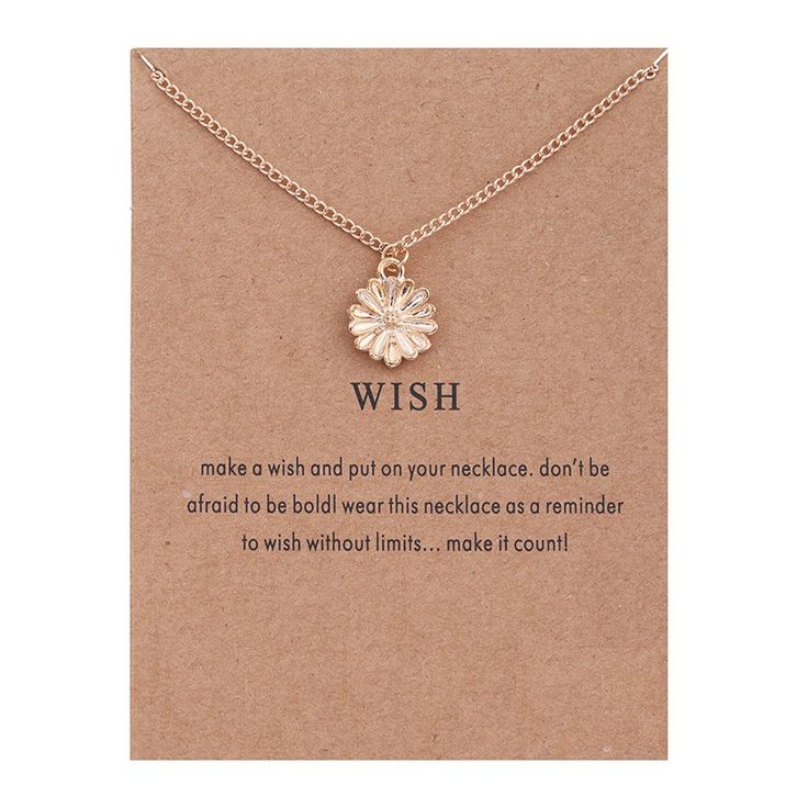 WISH Gold Plated Hope Flowers Sunflower Alloy Clavicular Bones Pendant Short Necklace