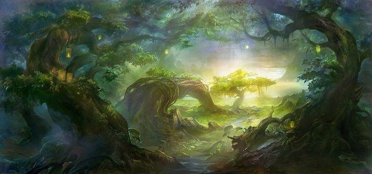 Umění, rong rong, wang, krajina, stromy, řeky, proud, světla, světla, kořeny, vinné révy, dřevo vektor