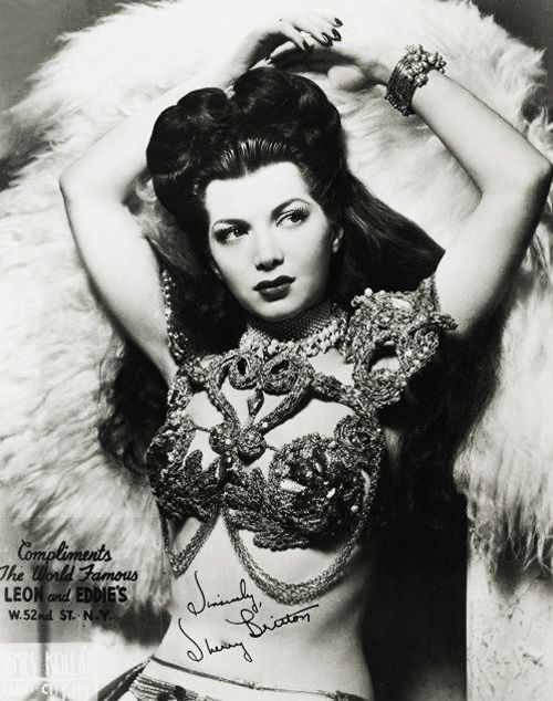 Burlesque dancer, Sherry Britton c. 1940's notice the head pieces are gone and Hair i pieces are in...the 40*s....