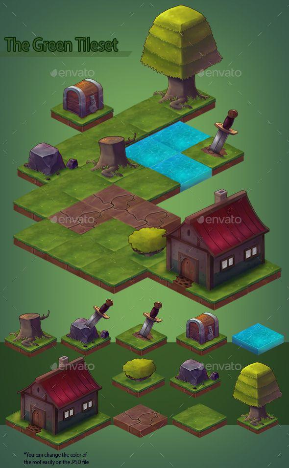 The Green Isometric Tileset Game Level Design