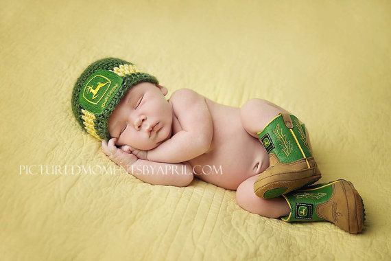 Crochet Baby John Deere Hat Newborn up to toddler Photo Prop Tractor Farmer boy or girl SALE on Etsy, $20.00