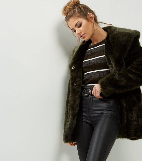 Anita and Green Dark Green Faux Fur Coat  | New Look