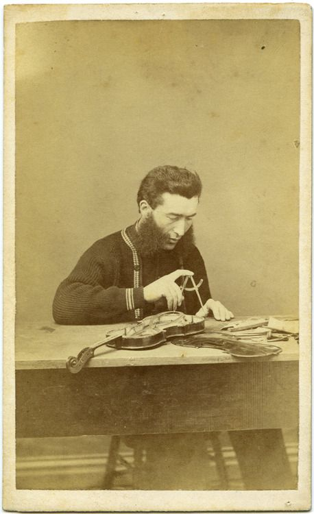 ca. 1860-80's, [carte de visite, portrait of a mutton chopped luthier working on a violin]