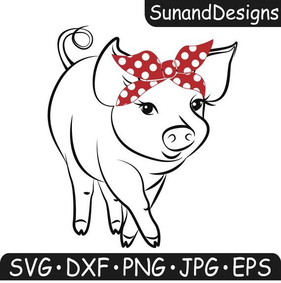 Download Pig Svg Bandana Svg Farm Animal Piglet Country DXF PNG ...