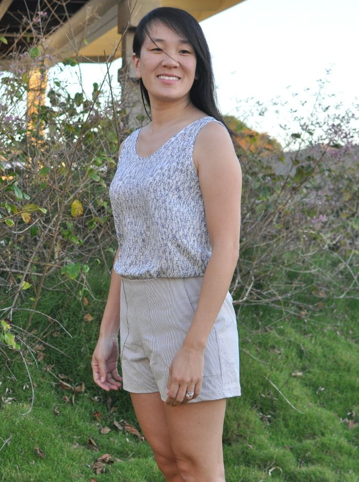 Using stretch bottom weight fabric from the imagine gnats shop, Alli sewed some adorable megan nielsen harper shorts that are perfect for spring and summer.