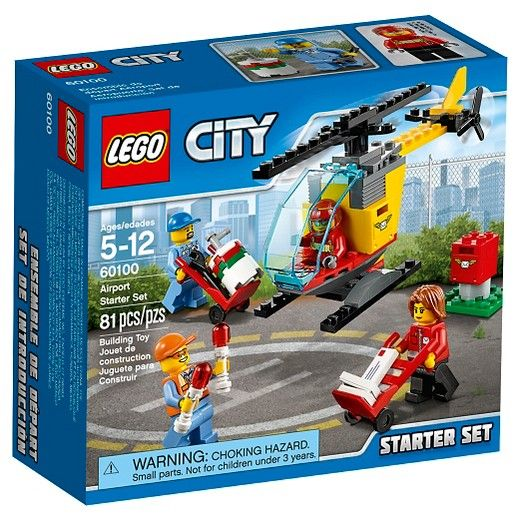 $7.99  LEGO® City Airport Airport Starter Set 60100:<br>Help empty the mailbox and load the mail helicopter ready for takeoff. Includes 4 minifigures, 3 pieces of mail, 2 hand trucks and accessory elements. Be part of the crew with a very important job! Help the postal workers empty the mailbox and get the mail to the helicopter. Load the onboard storage boxes before helping the pilot into the cockpit. Fill up the fuel tank with the gasoline barrel and lead the helicopter to the runwa...