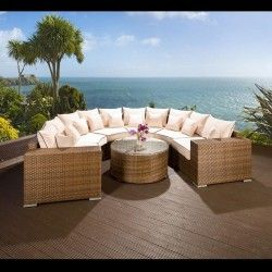 luxury outdoor garden u shape 8 seat sofa group brown rattan cream 600