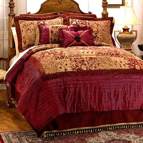 Bring Opulence To Any Bedroom Decor With This Elegantly Designed Bedding  Featuring Burgundy U0026 Gold Chenille Adorned With Faux Silk Pleating ...