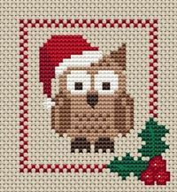 Holly's Hobbies Christmas Cross Stitch Owl.