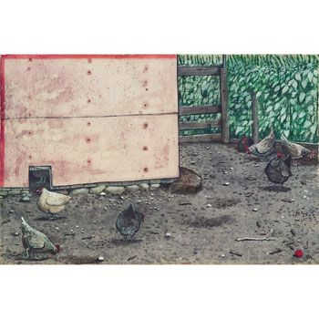 William Kurelek, John Tomyk's Chickens, 1963 ~ Reproductions | 100 Masters