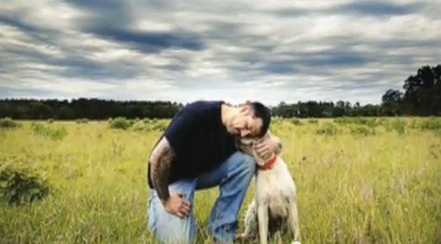 Precious pic of Marcus Luttrell with his dog, Mr. Rigby