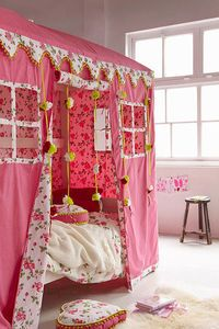 ♥ Love this girly house bed!!! Could work as an Ikea Kura bed hack with the bed down the bottom...