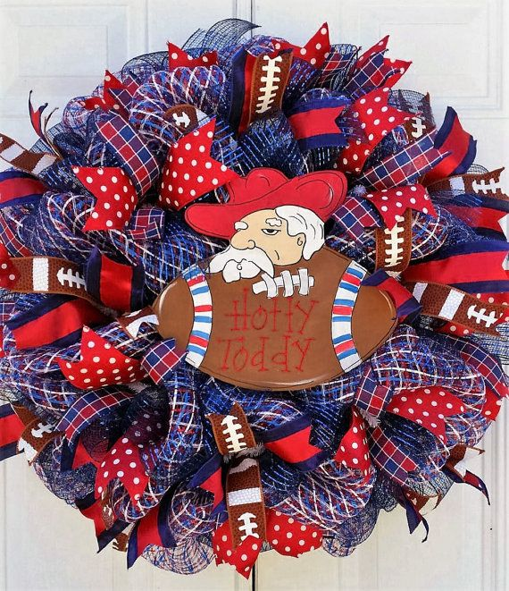 Ole Miss Wreath,Sports Themed Wreath, Game Day Wreath, Hotty Toddy Wreath, Ole…