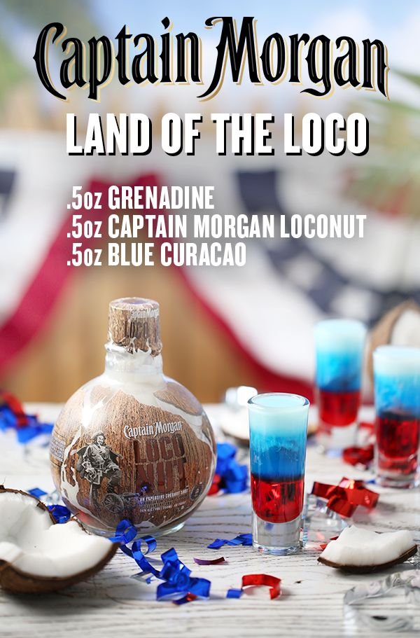 America, you're beautiful. We could leave it at that, but instead, we've created a patriotic shot that's more explosive than any of the fireworks lighting up the summer sky. This is the Land of the Loco shot, and it's ready to party. To mix one up for yourself or a fellow captain, start by adding 0.5 oz of grenadine into a shot glass. Then slowly pour 0.5 oz Captain Morgan LocoNut over the back of a spoon. Top it off by slowly pouring 0.5 oz blue curacao over a spoon, and enjoy!