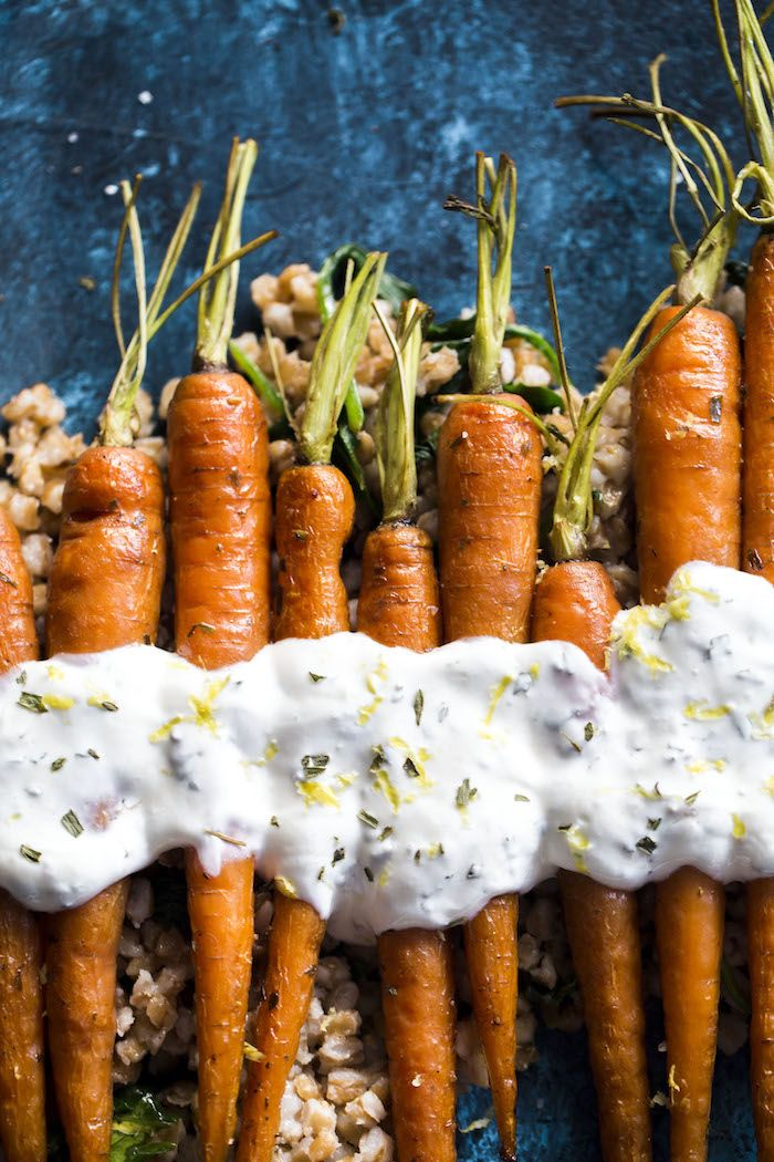 Roasted Carrots with farro, crunchy roasted chickpeas and a tangy lemon yogurt sauce