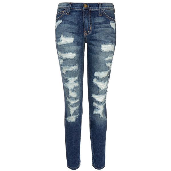 Current Elliott The Stiletto Low Rise Distressed Skinny Jean ($200) ❤ liked on Polyvore featuring jeans, blue, destroyed skinny jeans, mid-rise jeans, skinny leg jeans, distressed jeans and ripped blue jeans