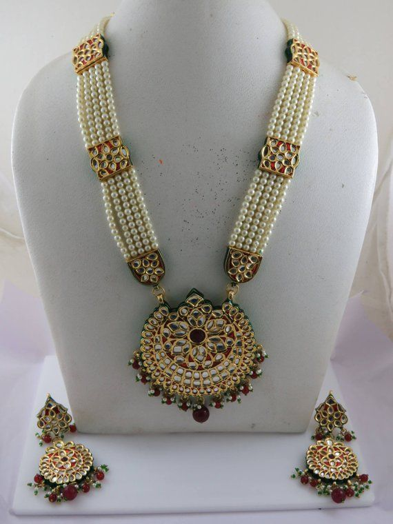 Ethnic Bollywood vert rose Collier Boucle d/'oreille setwedding partywear Indian Jewelry