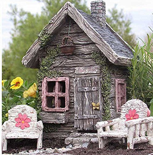 My Fairy Gardens Fairy Shed w/ Swinging Door  This sweet cottage features a litt... - Magical Miniature Fairy Garden Gifts