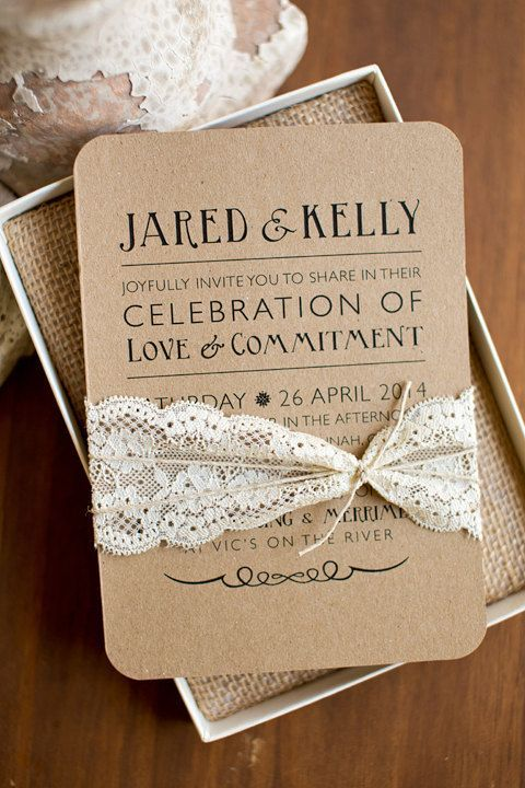 Rustic elegance inspired printable wedding invitation. Kraft paper, twine and lace. #weddinginvitations #rusticwedding #rusticelegance $23